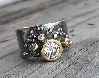 CZ Engagement Ring 18K Gold & Sterling Silver Handmade Wedding Ring Handmade By Wild Prairie Silver Jewelry