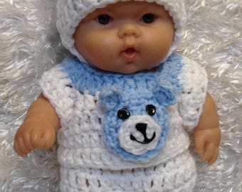 10 Inch and 8 inch Doll clothes.Bear Set.Blue/White