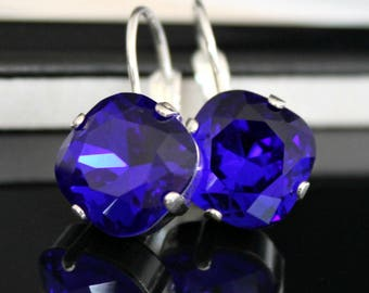 Vibrant Sapphire Blue Square Crystals Set in Silver Bezels on Silver Leverback Earrings