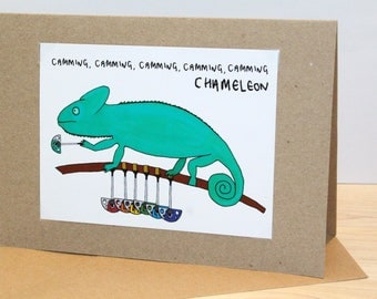 Camming Chameleon | Greeting Card | Handmade | Climbing