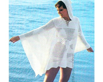 Hooded Beach Cover Crochet Pattern, Poncho Filet Crochet Seagull PDF Download