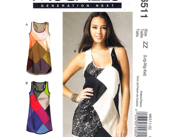 Color Block Tank Top Pattern McCalls 6511 Scoop Neck Patchwork Tunic Plus Size 18 to 24