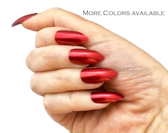 Metallic Red Silver Black Purple Stiletto Nails   Glue On Nails   Your Choice of Colors   Fake False Glue On Nails   Liquid Metal Fake Nails