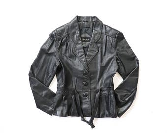 70s Fitted  Leather Jacket 1970s Moto Black Leather Coat 1980s Tailored 80s Biker Womens Belted Short Boho Hippie Southwestern Extra Small