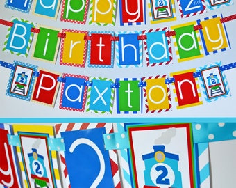 Train Birthday Party Banner Decorations Fully Assembled | Trains Birthday Party | Blue Train Party | Blue Train Birthday | First Birthday |