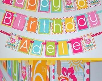 Tropical Birthday Party Banner Decorations Fully Assembled | Hawaiian Luau Birthday | Beach Birthday | Summer Birthday | Fun in the Sun |