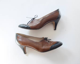 1980s Leather Oxford Heels - US8 EUR38