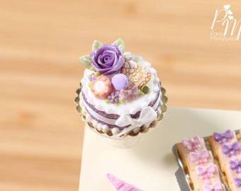 Purple Rose Cake - Miniature Food in 12th Scale for Dollhouse