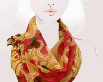 Mama Mia!  - hand painted silk scarf spaghetti ans meatballs