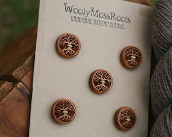 5 Cherry Wood Tree Buttons- Cherry Wood- Wooden Buttons- Eco Craft Supplies, Eco Knitting Supplies, Eco Sewing Supplies