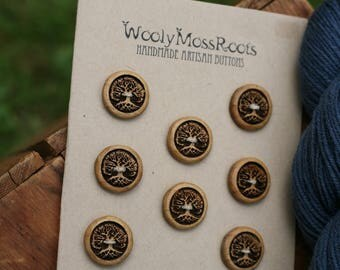 8 Wooden Tree Buttons- Oregon Myrtlewood- Wooden Buttons- Eco Craft Supplies, Eco Knitting Supplies, Eco Sewing Supplies