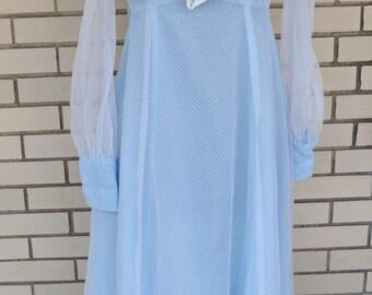 60s Swiss dot dress, 1960s blue maxi dress, vintage formal prom empire waist, pastel clothing Lolita