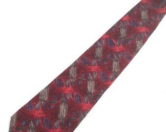 Vintage BURGUNDY Pattern Silk Tie / 90s Jerry GARCIA Banyan Tree Collection Eight Necktie