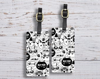 Luggage Tag Black and White Cats Tags Luggage Tag Set With Printed Custom Info On Back, 2 Tags Choice of Straps