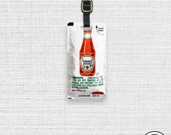 Ketchup Packet Funny Food Metal Luggage Tag  Personalized Custom Single Tag