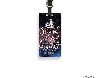 Luggage Tag Second star to the Right Storybook Quote Metal Luggage Tag With Custom Info On Back, Single Tag