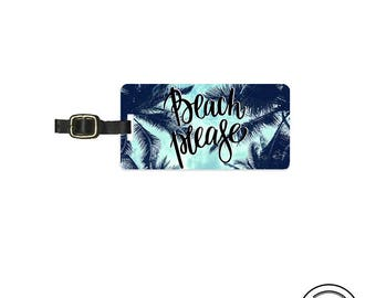 Luggage Tag Beach Please Summer Sky Palm Trees Metal Luggage Tag  With Printed Custom Info On Back, Single Tag