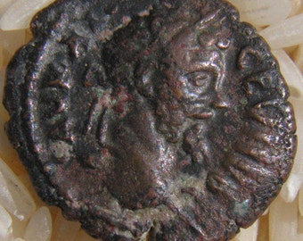 Authentic Greek Imperial Coin of Septimius Severus,  Reverse;  Homonoia, the Goddess of Concord and Harmony, 193-211 A.D.
