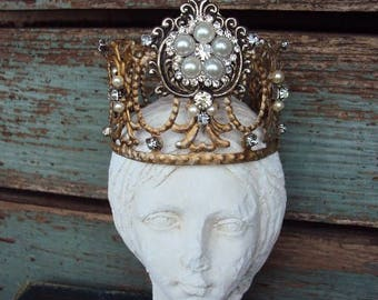 Crown Antique Style Jeweled Crown Shabby Chic Angel Statue Santos Ornament Distressed Metal with Clear Rhinestones and Pearls Baroque Ornate