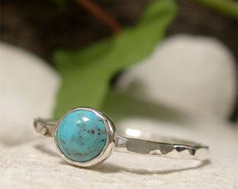 Turquoise Ring, Sterling Silver Stacking Ring, December Birthstone Gemstone Ring, Simple Dainty Blue Stone Stack Ring, Handmade Jewelry