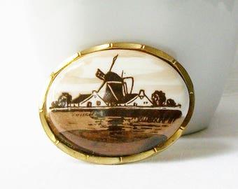 Vintage Windmill Scene Brooch