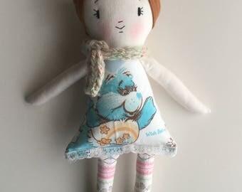 80s Rag Doll Cloth Doll Handmade Doll Vintage Fabric Care Bears