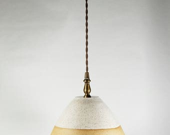White and raw clay hanging lamp - Hanging pendant lamp - Lighting - Pendant light - Light Fixture - Ceiling Fixture - Chandelier - Pottery
