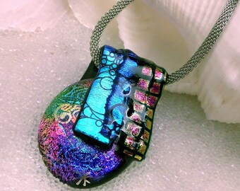 Dichroic Glass Pendant, Translucent Jewel Tone Glass Folded over a Large Dichroic Cabochon, Large Focal Bead, Fused Glass Pendant, Art Glass