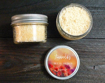 NEW! 12 ct Sugar Scrub Favors - Bridal Shower Favor From My Shower to Yours, Poppy Seed Bath Favors, Organic Sugar Scrub Bath & Body Favors