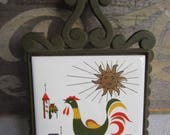 Vintage Rooster Tile Trivet Mid Century Kitchen Decor made in Japan