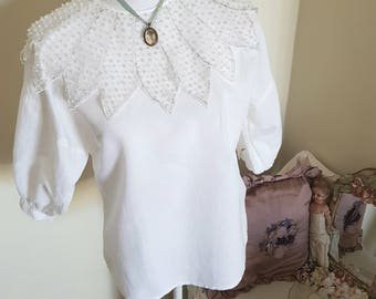 victorian look blouse, 80s does victorian, pearls beads, unusual beaded collar, victorian costume