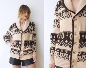 50s 60s chunky knit cardigan. men's cardigan. grandpa cardigan. shawl neck cardigan - large, xl