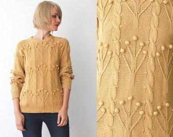 80s 90s mustard sweater. slouch chunky bobble knit sweater. dark yellow cotton sweater - small to medium