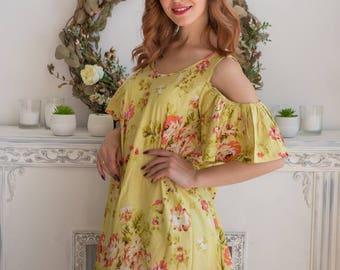 Light Yellow cold shoulder Maxi Dress| Summer Dress| Workwear| Sundress| Long Dress| Boho Dress| Maxis| Street Style