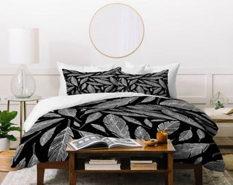Modern Black Duvet Cover // Twin, Queen, King Sizes // Bedding // Home Decor // Float Like A Feather Design // Black & White // Boho Style
