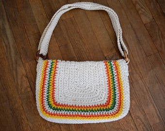 Vintage 70s MACRAME Crochet WOVEN RAINBOW Purse