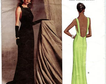 Badgley Mischka Vogue American Designers 2605 UNCUT  Sewing Pattern Formal Backless Full Length Evening Gown Sizes 14 16 18 Bust 36 38 40