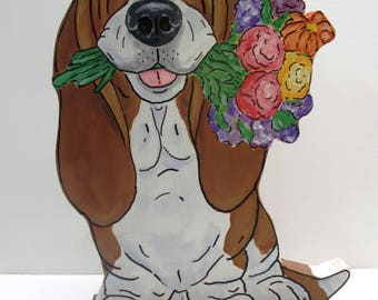 """Hand Painted Basset Hound Table Top Art - """"Rose"""""""