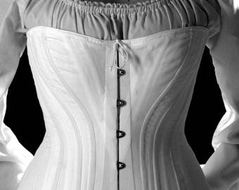 Victorian Corset in Cotton Coutil Steel Spoon Busk front closure, tall c. 1880 Steel Boned Historical Hourglass small to plus size