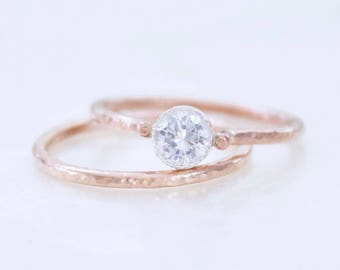 Petite Organic Alternative Bridal Set - Sterling Silver and Gold Fill and Cubic Zirconia - Ethical Conflict Free