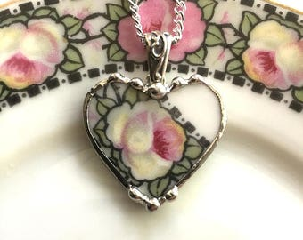 Broken china jewelry beautiful heart pendant broken china jewelry necklace antique champagne rose porcelain