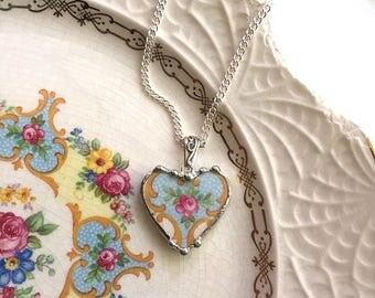 Broken china jewelry - broken china heart pendant necklace - antique china -  pink roses on blue background, recycled china