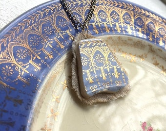 Broken china jewelry - china pendant necklace with chain - antique china shard on linen pendant - blue reflective gold