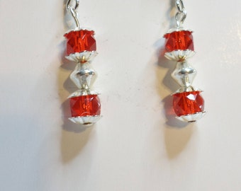 Red and Silver Beaded Dangle Earrings