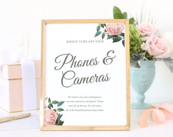 No Cell Phones Sign, Turn off Phones and Cameras, Wedding Unplugged Sign, Printable Wedding Sign, Vintage Botanical | SUITE028