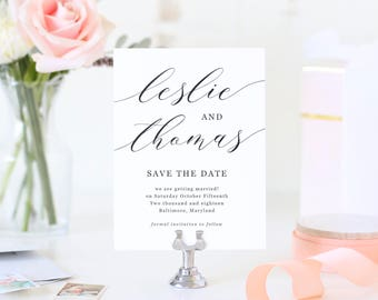 Save The Dates Template, Printable Save the Date, Save Our Date, Modern Calligraphy | SUITE032