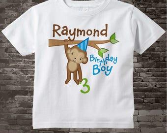Birthday Boy Shirt - Boy's 3rd Birthday Shirt, Personalized Third Birthday Boy Monkey Shirt, Jungle Theme Birthday 01062014a