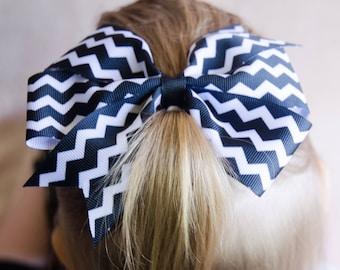 Hair Bow - Black Chevron Print Pinwheel Hairbow