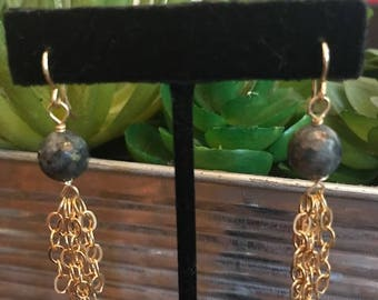 labradorite and gold chain earrings