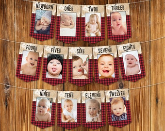 Lumberjack First Year Photo Banner | 12 Month Photo Banner | Lumberjack 1st Birthday, Lumberjack Party | INSTANT Download DIY Printable PDFs